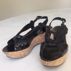 Via Spiga Black Leather platform sandals